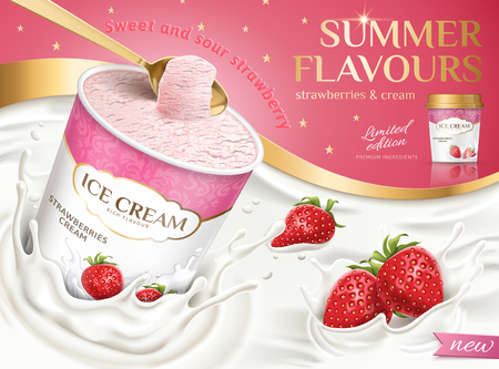 Strawberry ice cream cup with splashing milk and fruit in 3d illustration on pink background Illustration