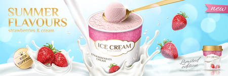 Strawberry ice cream cup with splashing milk and fruit in 3d illustration on bokeh blue background