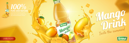 Mango juice in plastic bottle with fresh fruit and swirling liquid in 3d illustration