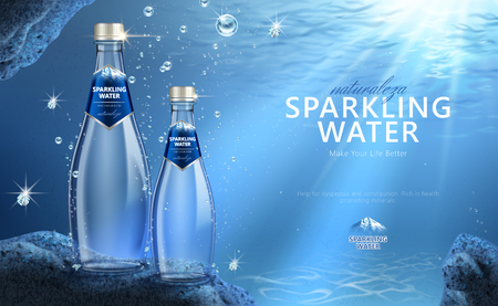 Sparkling water with clear bubbles under the water in 3d illustration, Naturaleza is spaninsh word means nature