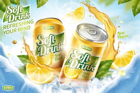 Annonce de boisson gazeuse fraîche avec des glaçons et des éclaboussures de jus en illustration 3d, feuilles vertes et fond de grotte de glace