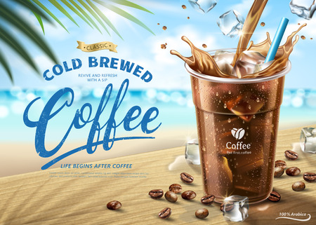 Cold brewed coffee ads on hot summer beach scene in 3d illustration