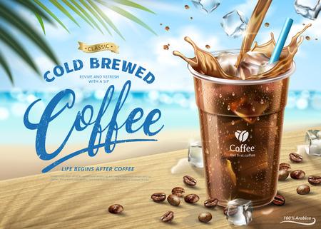 Kalt gebrühte Kaffeeanzeigen auf heißer Sommerstrandszene in der 3D-Illustration