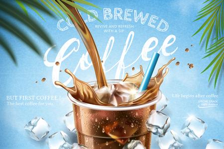 Café preparado en frío que se vierte desde la parte superior en una taza para llevar con cubitos de hielo sobre fondo azul claro en la ilustración 3d Ilustración de vector