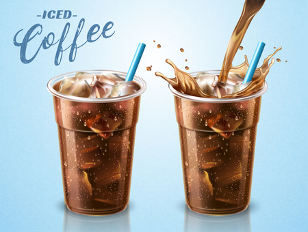 Cold brewed coffee takeaway cup with liquid pouring down into container in 3d illustration, blue background