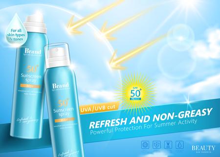 Annunci spray per la protezione solare con schermo efficace che può riflettere i raggi UV nell'illustrazione 3d