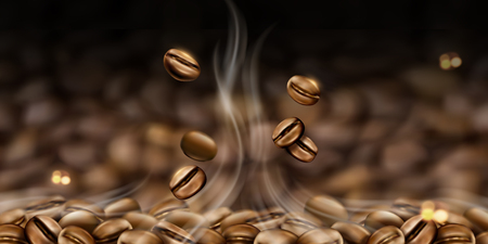 Hot coffee beans background in 3d illustration for design uses