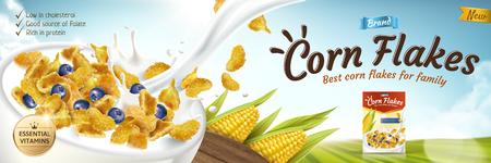 Delicioso anuncio de copos de maíz con leche en un tazón en la ilustración 3d, fondo verde del campo bokeh