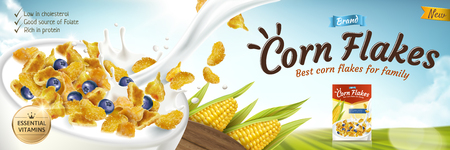 Delicious corn flakes ad with milk pouring into bowl in 3d illustration, green bokeh field background