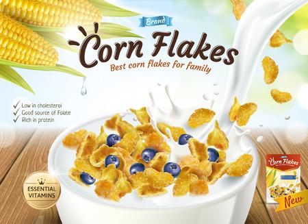 Délicieux flocons de maïs annonce avec du lait versant dans un bol en illustration 3d, fond de bokeh de paillettes
