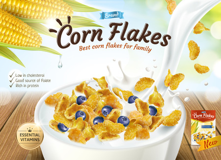 Delicious corn flakes ad with milk pouring into bowl in 3d illustration, glitter bokeh background