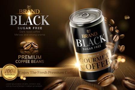 Premium black canned coffee with beans swirling around it in 3d illustration, wooden table and bokeh background