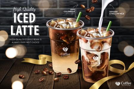 Café con leche helado en taza para llevar en tablón de madera y fondo de pared de ladrillo gris, ilustración 3d Ilustración de vector