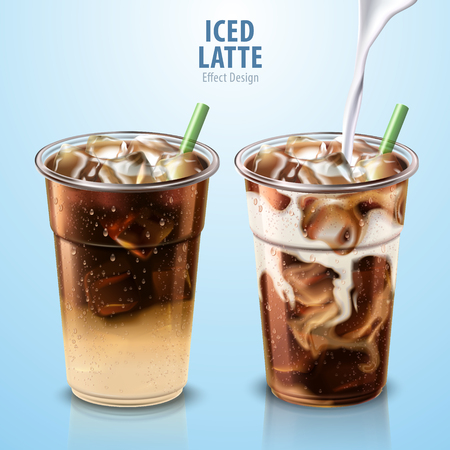 Iced latte mockup set with milk pouring down into it, 3d illustration