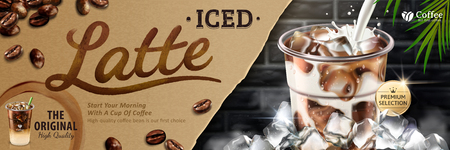 Iced latte banner with milk pouring into takeaway cup on bokeh brick wall, latte calligraphy written on kraft paper in 3d illustration