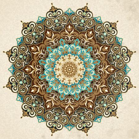 Exquisito patrón arabesco en tono marrón y turquesa.