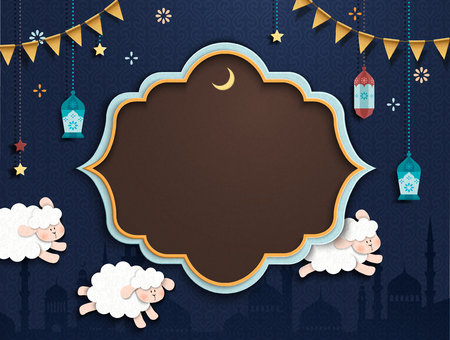 Islamic holiday design in cute paper art style, sheep running through the night sky with copy space for design uses Фото со стока