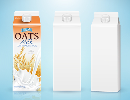 Maquette de conteneur de carton de lait en illustration 3d sur fond bleu Vecteurs