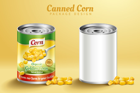 Canned corn package design in 3d illustration, two tin can mockup for design uses Vektorové ilustrace