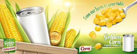 Sweet corn ads with blank tin can and kernels on bokeh green field background in 3d illustration Illustration