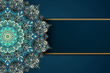 Exquisite arabesque pattern in green and turquoise tone with blank banner for design uses Illustration