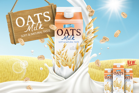 Oats milk ads with carton container and mellow milk pouring down in 3d illustration, golden grain field background Vectores