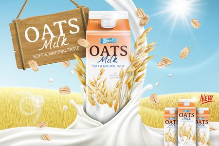 Reklamy mleka owsianego z kartonowym pojemnikiem i łagodnym mlekiem spływającym w dół na ilustracji 3d, złote tło pola ziarna