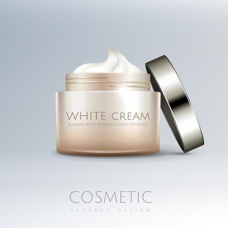 Maqueta de tarro de crema blanca en ilustración 3d para usos de diseño