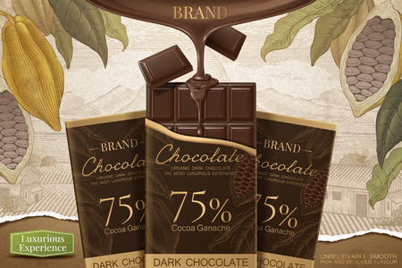 Dark chocolate ads with 3d illustration product on retro engraving cocoa background