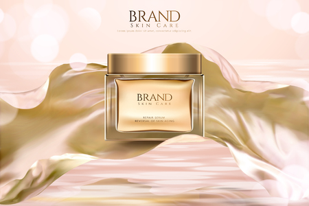 Cosmetic skincare product ads with glass jar and flowing satin on glitter background in 3d illustration