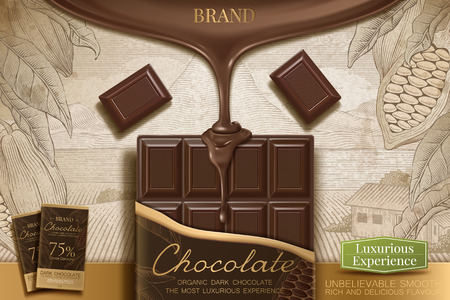 Dark chocolate ads with 3d illustration sauce dripping from top on retro engraving cocoa background