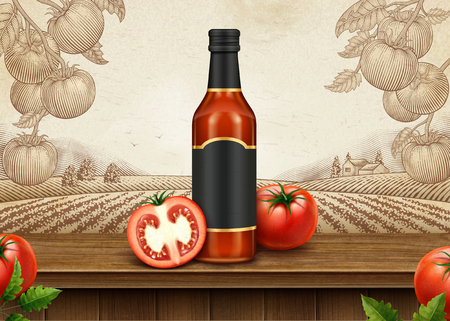 Ketchup retro ads with 3d illustration blank package on engraving style tomato orchard background 向量圖像