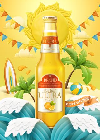 Annonces de cocktail orange avec fond de plage de style argile légère et pâte à modeler en illustration 3d, vagues et petite île
