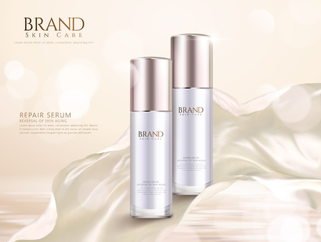 Repair serum ads with pearl white flowing satin on glitter background in 3d illustration