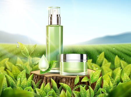 Green tea skincare ads with products placed on cut tree trunk in 3d illustration, bokeh tea garden background