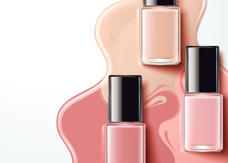 Fashion pink nail lacquer product in flat lay angle, 3d illustration