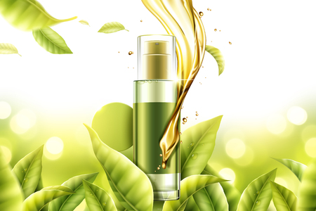Green tea essence product with swirling serum liquid and leaves in 3d illustration, nature bokeh background