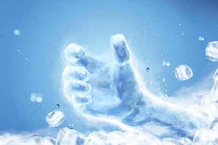 Ice grabbing hand with flying ice cubes on blue background in 3d illustration
