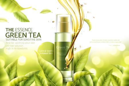 Anuncios de esencia de té verde con líquido de suero arremolinado y hojas en ilustración 3d, fondo de naturaleza bokeh