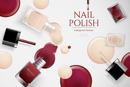 Fashion nail lacquer ads with products laying on table with dripping liquid in 3d illustration
