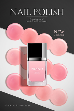 Fashion nail lacquer poster with pink liquid and glass bottle in flat lay Illustration
