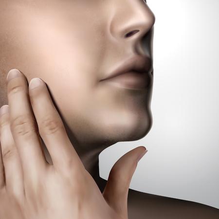 Handsome man caresses his own face in 3d illustration, skin care concept Иллюстрация
