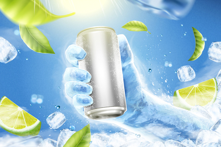 Refreshing drink ads with ice hand grabbing beverage can in 3d illustration, flying lemons, green leaves and ice cubes