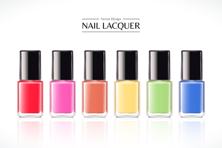 Colorful nail lacquer mockup set in 3d illustration on white background