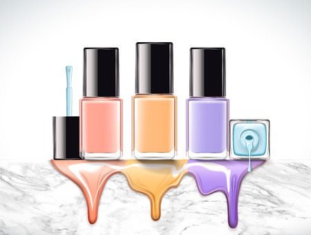 Pastel color nail lacquer mockup set on marble stone wall in 3d illustration