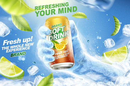 Refreshing soft drink ads with ice hand grabbing beverage can in 3d illustration, flying lemons, green leaves and ice cubes