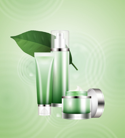 Green tea cosmetic set with leaves ingredients on ripple background in 3d illustration Illustration