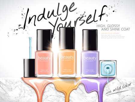 Fashion nail lacquer ads with colorful liquid dripping down from marble stone wall, 3d illustration Illustration