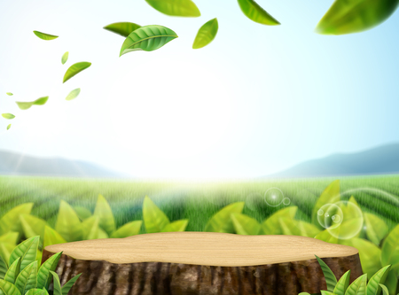 Nature tea garden background with flying leaves and cut tree trunk in 3d illustration