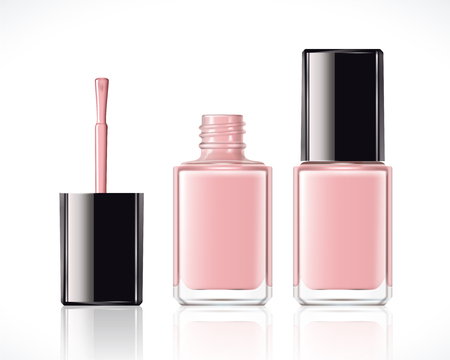 Pink nail lacquer mockup set in 3d illustration on white background  イラスト・ベクター素材